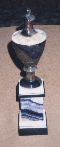 Trophy made with Blue John stone